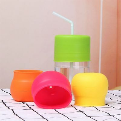 Creative Leakproof Food Grade Water Straw Silicone Lids Sippy Bottle Cup Cover