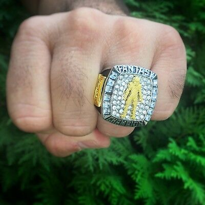2018 Fantasy Football Championship Trophy Ring Silver Gold Plated +Display Case