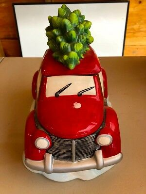 Vintage Car With Christmas Tree Ceramic Cookie Jar