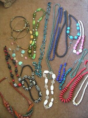 Job Lot Of 20 Necklaces Beads, Ethnic, Wood, Plastic, Glass, Chunky, Leather +++