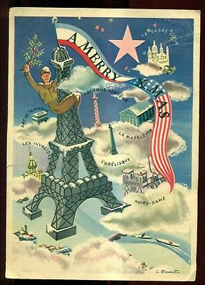 """WW2 Soldier's """"This Dam War"""" French Christmas Card/Letter to Sister"""
