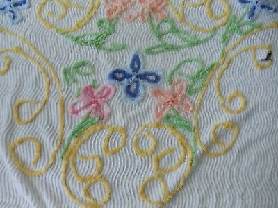 Vintage CHENILLE Floral BEDSPREAD 92 x 100 inches CUTTER SCRAP CRAFT