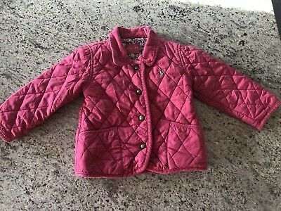 Joules Baby Girl Pink Quilted Coat Age 18 - 24 Months