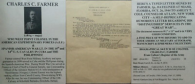 SPANISH AMERICAN WAR 10th 14th CAVALRY WWI WEST POINT COLONEL CUBA LETTER SIGNED