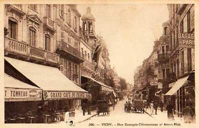 03 Cpa  Animee Debut 1900-Vichy Rue Georges Clemenceau Et Music Hall