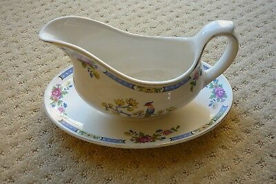 Lord Nelson Ware TSING Pottery Gravy/Sauce Boat on Base/Saucer