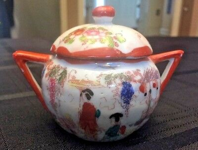 Japanese Hand Painted Sugar Bowl with Cover
