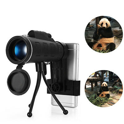 40X60 Monocular Telescope HD Night Vision Prism Scope With Compass Phone Tripod