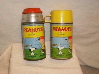 2 Vintage The Peanuts. by Schultz. Tin Thermoses. Thermos Brand.