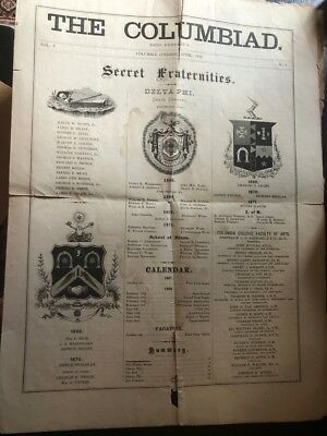 """April 1868 newspaper, The Columbiad, Columbia College, """"Secret Fraternities"""""""