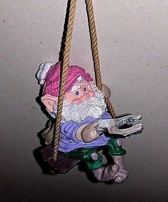 RARE Mini Christmas Tree Ornament Gnome Elf Holding Wrench on a swing