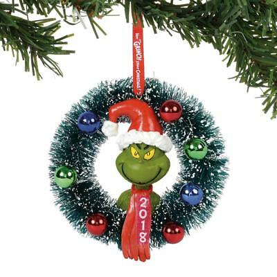 NEW 2018 Department 56 Grinch in Wreath Dated Christmas Ornament 6000307