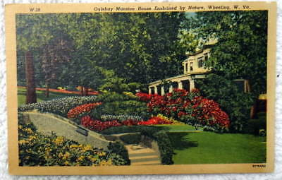 Postcard Wheeling West Virginia Oglebay Mansion House & Gardens #9