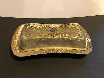 3 Piece Butter Dish Set- VINTAGE - Silver plated