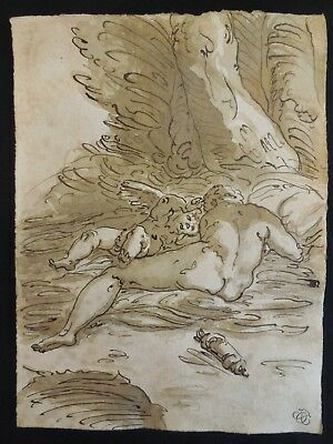 Old drawing,Italian school,old master,Rare,Antique,Original Brown ink drawing.