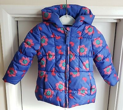 Mothercare Girls Age 12 - 18 Months Warm Cosy Quilted Hooded Coat Jacket