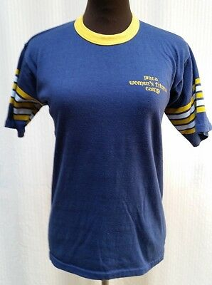 Vintage 1970/80's YMCA T Shirt Ringer Tee - Women's Fitness Camp - Size S