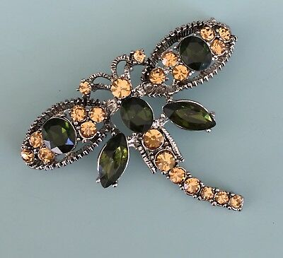 vintage Style dragonfly brooch in silver tone metal with cut glass
