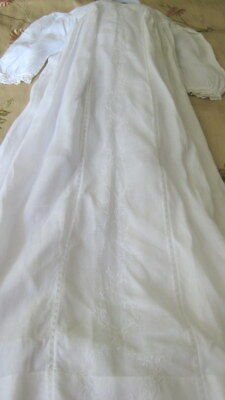 Antique Victorian Princess Line White Embroidered  Fine Cotton Christening Gown