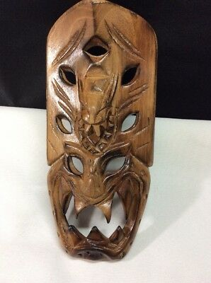"Vintage Dragon Mask Hand Carved Wooden Mask 8"" Wall Decor Tesoro's Manila"