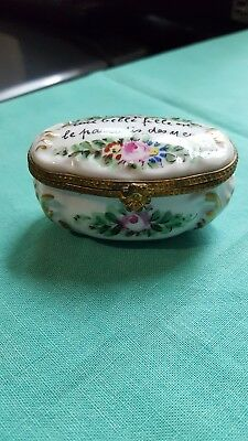 Vintage Signed Limoges Hand Painted Floral Trinket Porcelain Pill Oval Box