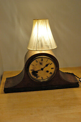 Steampunk industrial upcycled vintage Mantel clock wood table lamp light