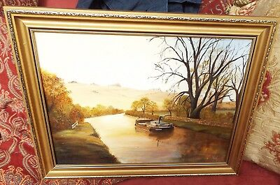 vintage original oil on board painting canal river working barge Diana signed NM