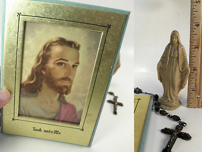 Lot of Vintage Religious Catholic Christian Rosary Mary Dash Statue Jesus Image