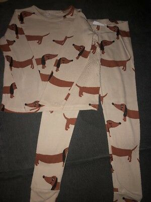 MINI RODINI OFF WHITE SAUSAGE DOG TOP AND LEGGINGS Age 4