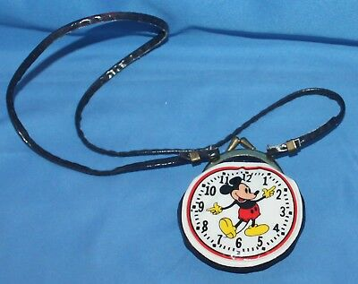 Rare Vintage Mickey Mouse Clock Coin Purse With Neck Strap