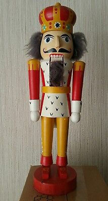 vintage german nutcracker king red and yellow grey hair collectors antique