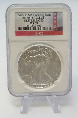 2012 $1 Struck At San Francisco Mint First Releases Silver Eagle NGC MS69