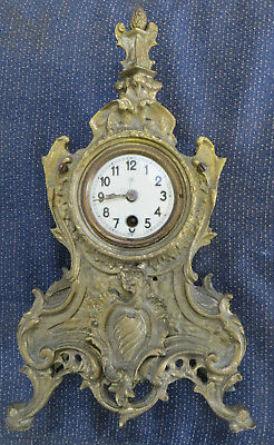 Ornate French Rococo Style Heavy Brass Mantel Clock