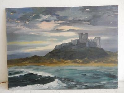 OLD PAINTING oil SEA  Bamburgh castle signed