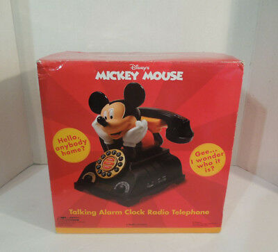 Mickey Mouse Animated Talking Alarm Clock Radio Telephone Phone NEW IN BOX