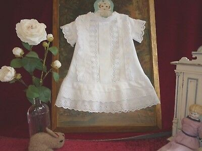 Beautiful Antique Drop Waist Baby Dress Whitework Emb GC.