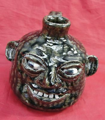 Rare 1998 Cj Cleater & Billie Meaders Ugly Face Whiskey Liquor Jug Signed 5.5""