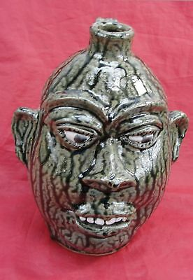 Rare 1998 Cj Cleater & Billie Meaders Ugly Face Whiskey Liquor Jug Signed 11""
