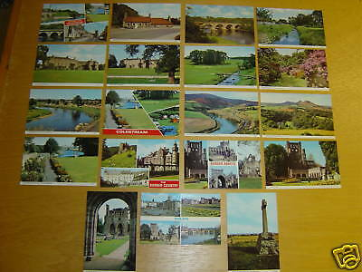 19 Old Postcards Scotland Borders Coldstream Kelso Etc ~ Good Value Lot