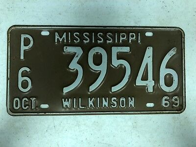 1969 MISSISSIPPI Wilkinson County Private Commercial Truck License Plate P6-3954