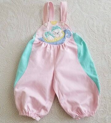 Vintage Baby Girl Romper Overalls Childrens Pastel Outfit Kawaii Fairy Kei 80s