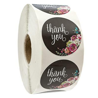 """Floral Thank You Stickers - 1.5"""" Circle Labels / 1000 per pack"""
