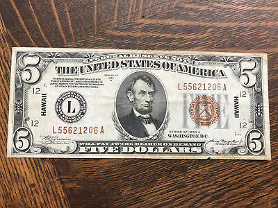 1934 A $5 Hawaii Emergency Issue Silver Certificate