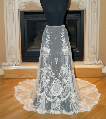 ABSOLUTELY EXQUISITE HANDMADE ANTIQUE VICTORIAN IRISH WEDDING SKIRT c.late 1800