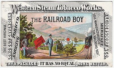 x RARE Advertising Trade Card - Railroad Boy Western Steam Tobacco 1870s Uncut