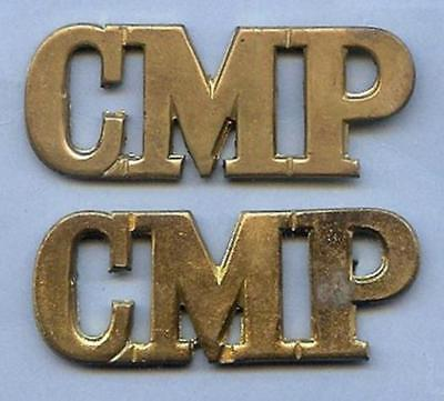 Authentic British Army Brass Shoulder Title Pair CMP Military Police 1926-1946
