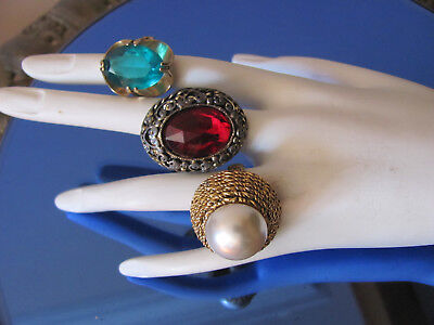 LOT-3) VTG 60s GLAM DIVA BOLD STONE COCKTAIL RINGS 18-KT Gold Plate SPARKLY $20