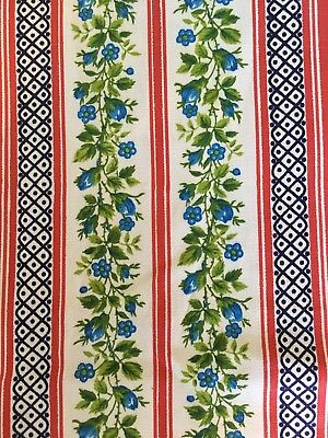 Vintage Heavy Cotton Pillow Ticking Fabric Blue Flowers Red Stripes
