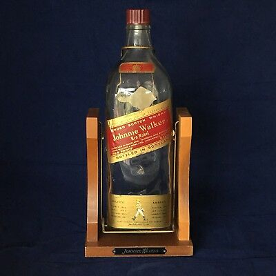 JOHNNIE WALKER RED Label Vintage One Gallon Bottle Cradle Stand Vintage Display