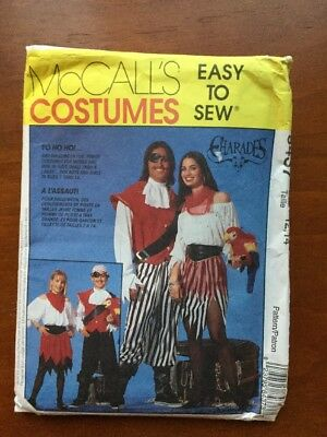 Halloween Sewing Pattern McCall's 8437 Pirate Costumes Boy Girl 12 -14